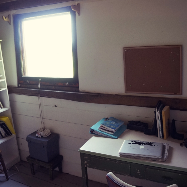 One side of my writing studio. The window lets in a lot of light.